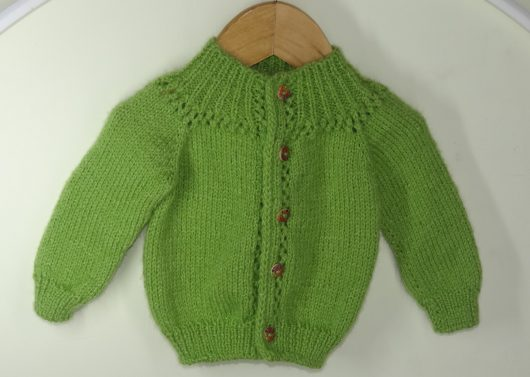 Buy Hand-knitted Parrot Green Sweater Online India - The Village Naturals
