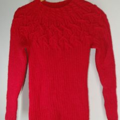 Buy Hand knit Red Designer Sweater Online India - The Village Naturals