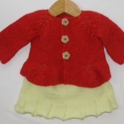 Buy Red & Yellow Frock Sweater Online India - The Village Naturals