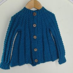 Buy Hand Knit Greenish Blue Sweater Online India - The Village Naturals