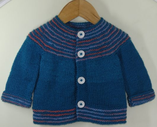Buy Hand-knit Blue Multicolor Sweater Online India - The Village Naturals