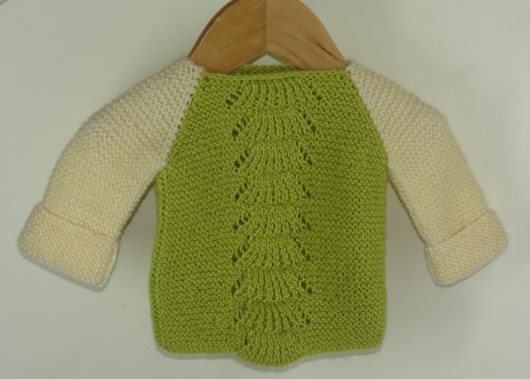 Buy Hand-knitted Green-White Sweater Online India - The Village Naturals