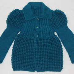 Buy Greenish Blue Jacket Style Sweater Online India -The Village Naturals