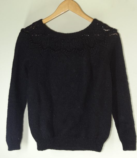 Buy Hand knit Women Black Sweater Online India - The Village Naturals
