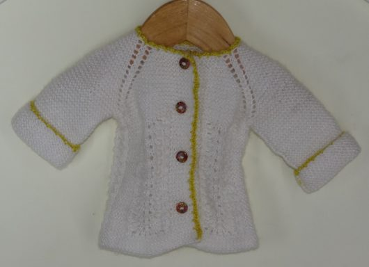 Buy Hand-knitted White-Yellow Sweater Online India - The Village Naturals