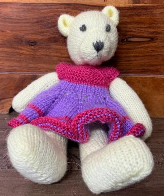 Buy Hand Knitted Teddy Bear White Online India-The Village Naturals