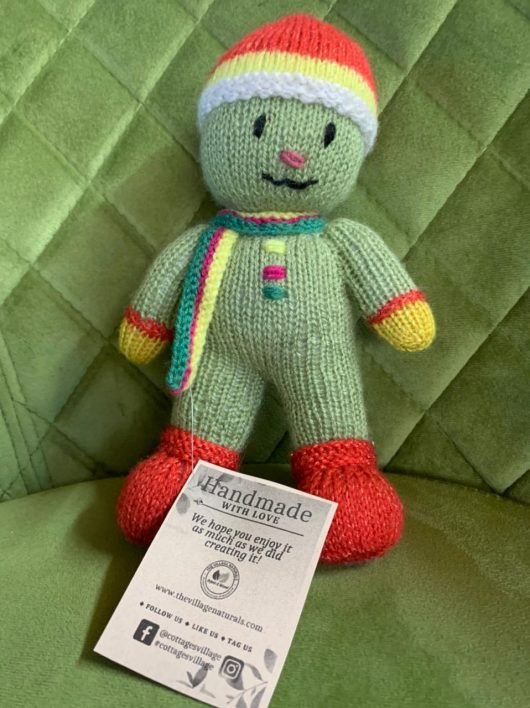 Buy Hand-Knit Soft Toy Snowman Green Online India - The Village Naturals